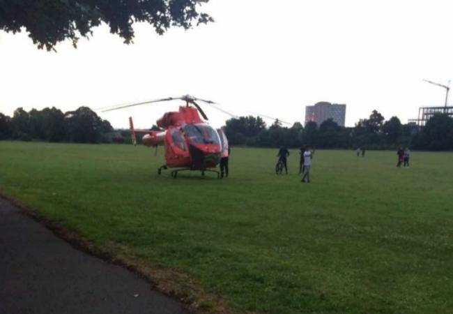 An Air Ambulance in Morden Park. Picture: Ruhee Baltz