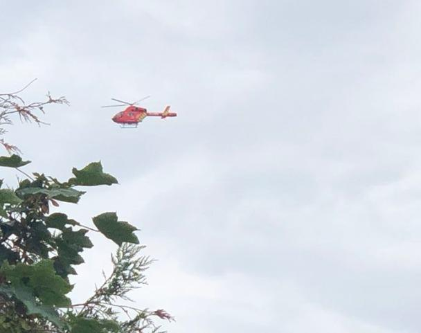 An Air Ambulance leaving Haydons Road Recreation Ground. Picture: Sara Kimberley
