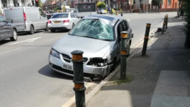 Car crash in Gap Road, Wimbledon.