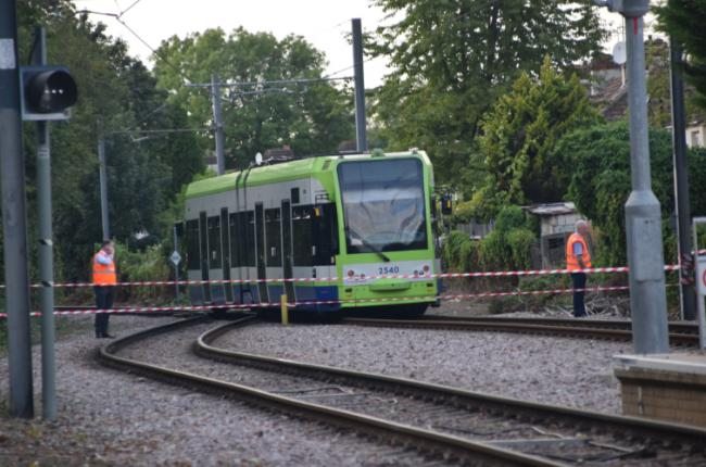 The derailed tram. Picture: Anthony Gumm