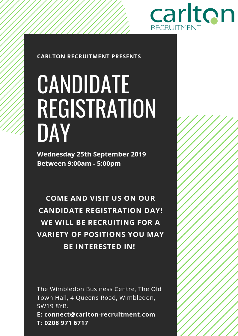 Candidate Registration Day Wimbledon- 25/09/19