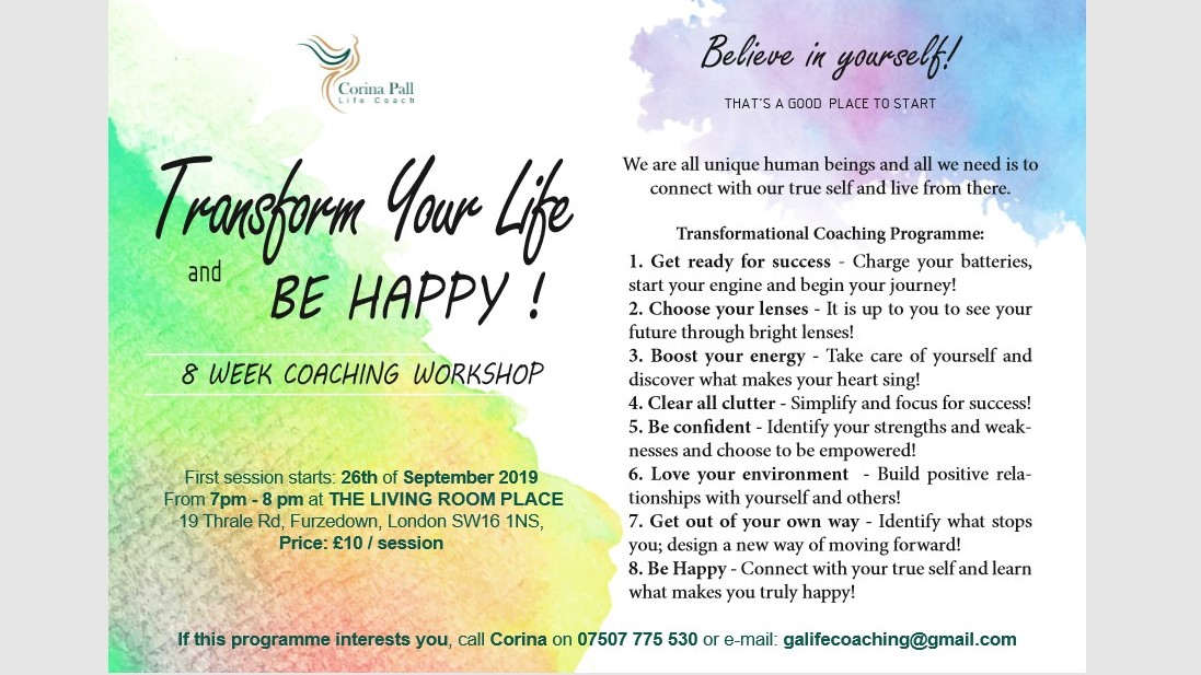 8 week Coaching Workshop @The Living Room Place