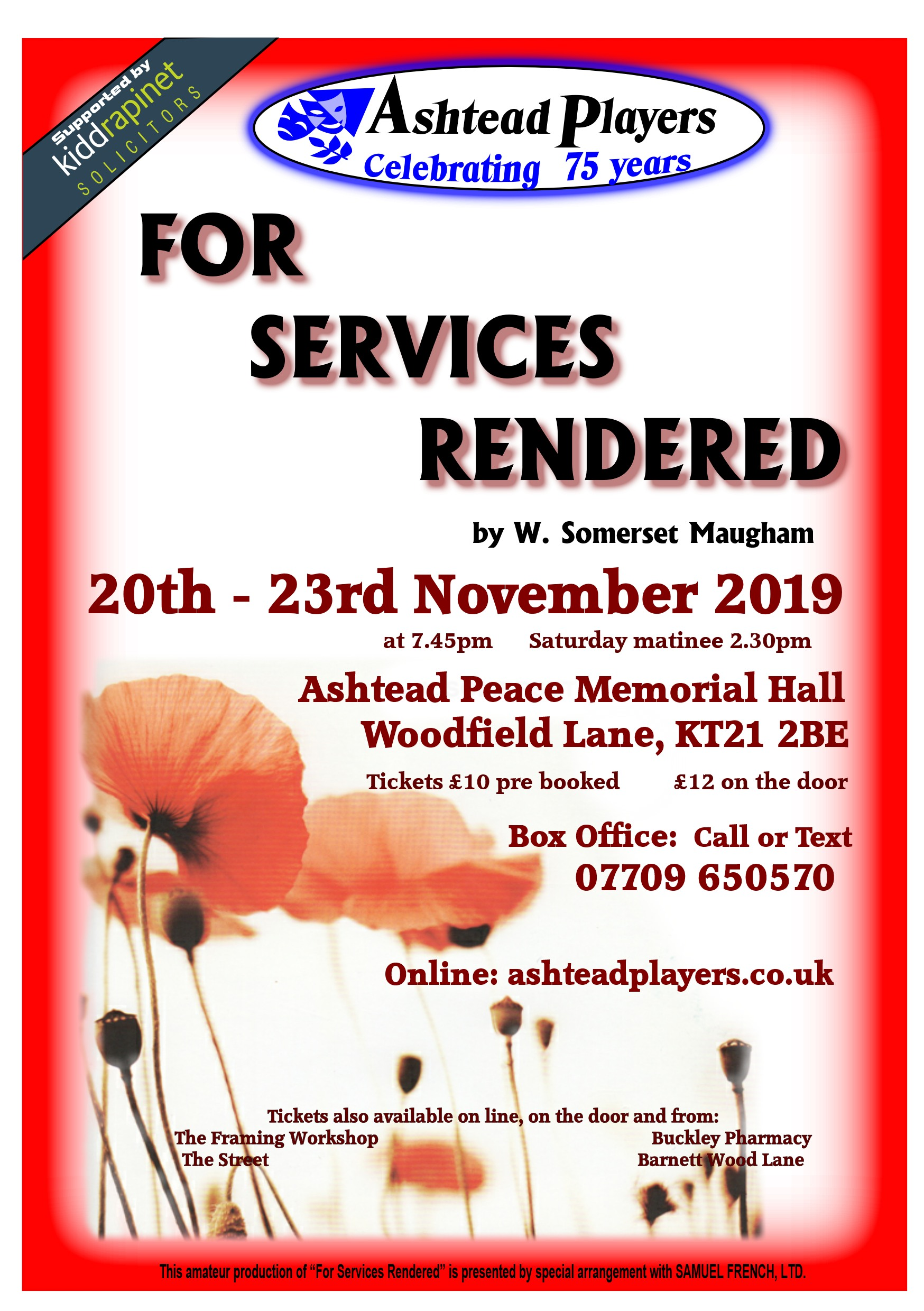 For Services Rendered by W. Somerset Maugham