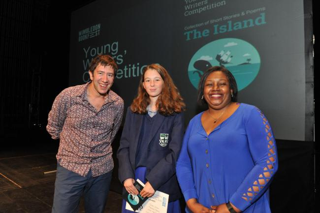 Madeline Harding, Year 9 Ursuline High School with author Malorie Blackman and University of Roehampton's Ariel Kahn, one of the judges in the competition