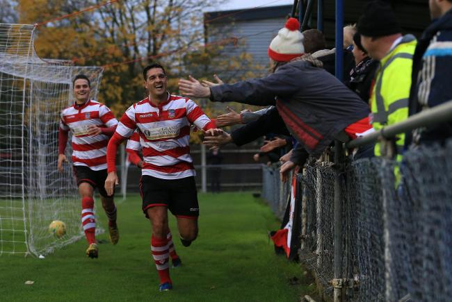 Tom Kavanagh celebrates his eighth goal of the season. Pic: Simon Roe