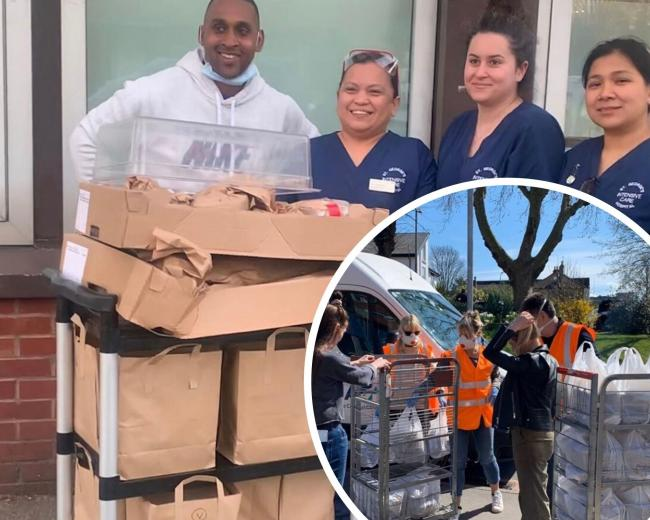 Morris Tolaram helps deliver donations to hospital staff at St Georges