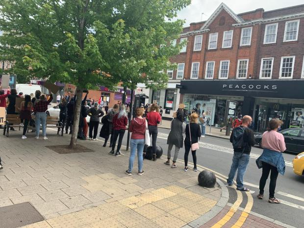 Wimbledon Times: Protesters in support of Black Lives Matter in New Malden. Image: Henry Riley