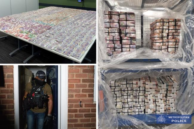 Photos issued by the Metropolitan Police of raids and cash seized in Operation Venetic, an investigation on Encrochat, a military-grade encrypted communication system used by organised criminals trading in drugs and guns.