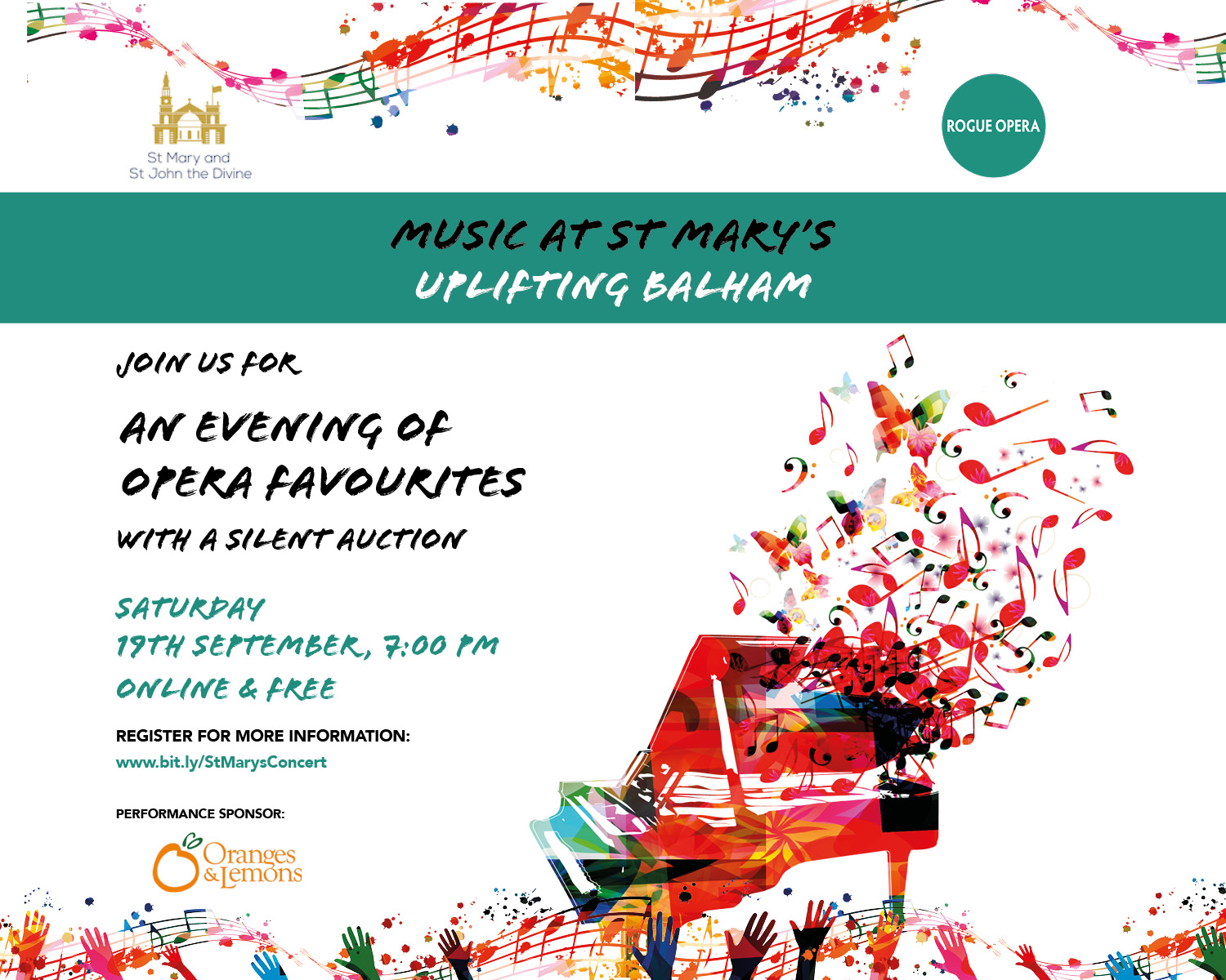 St Mary's Church Balham London online concert of opera favourites and silent auction with Rogue Opera