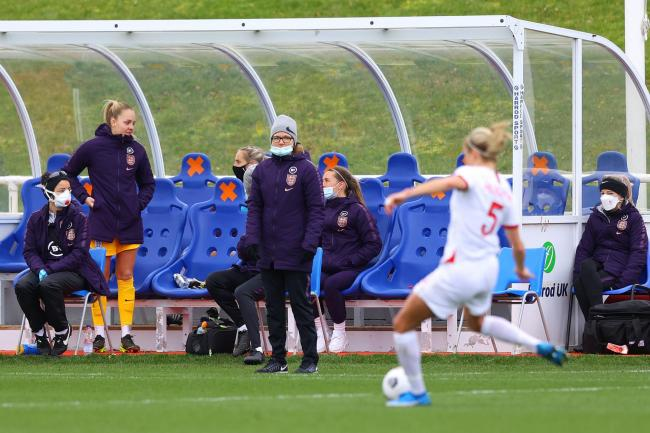 Hege Riise, centre, has overseen two England games so far and names her Great Britain squad next month