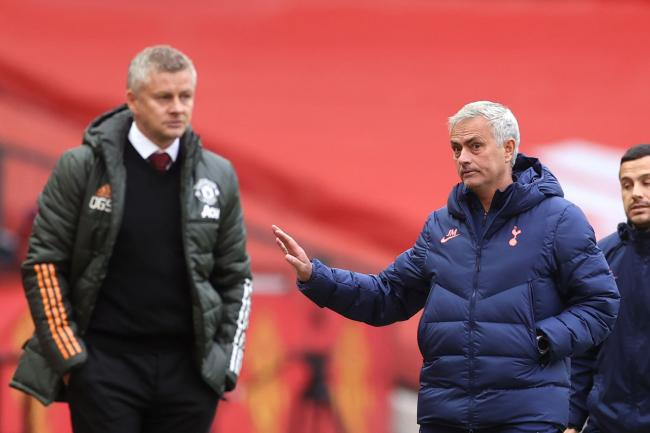 Ole Gunnar Solskjaer (left) and Jose Mourinho (right) on the touchline