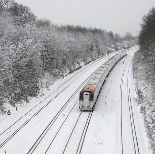 Wimbledon Guardian: More than 100 rail passengers have been stranded after their train became stuck in snow (stock image)