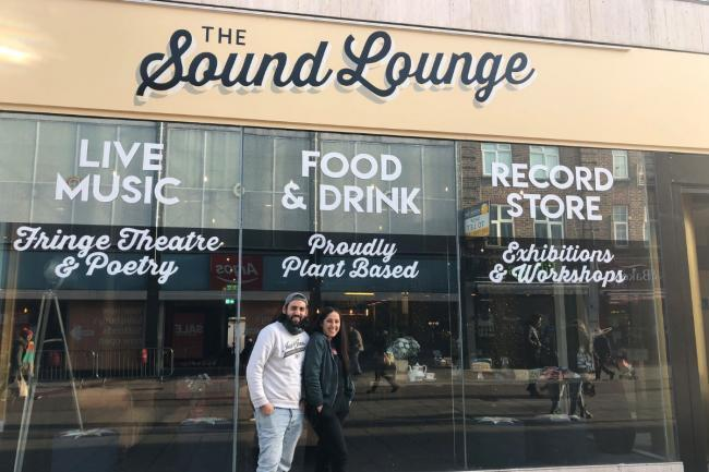 Co-founders Hannah and Kieron pictured outside Sound Lounge Sutton