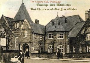 Back in the early years of the 20th century, the Wimbledon Village Club produced a sepia Christmas card showing the Village Hall entrance in Lingfield Road