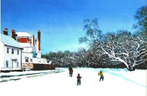 This year's Christmas card depicts children playing in snow at West Place on Wimbledon Common, painted by local artist John Field.