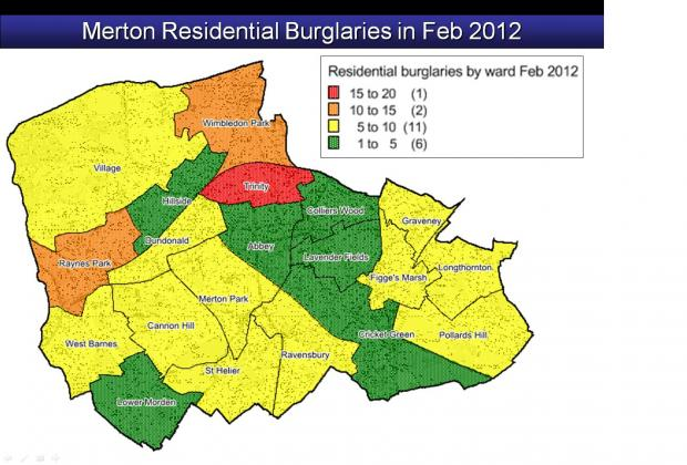 February burglaries and robberies in Merton