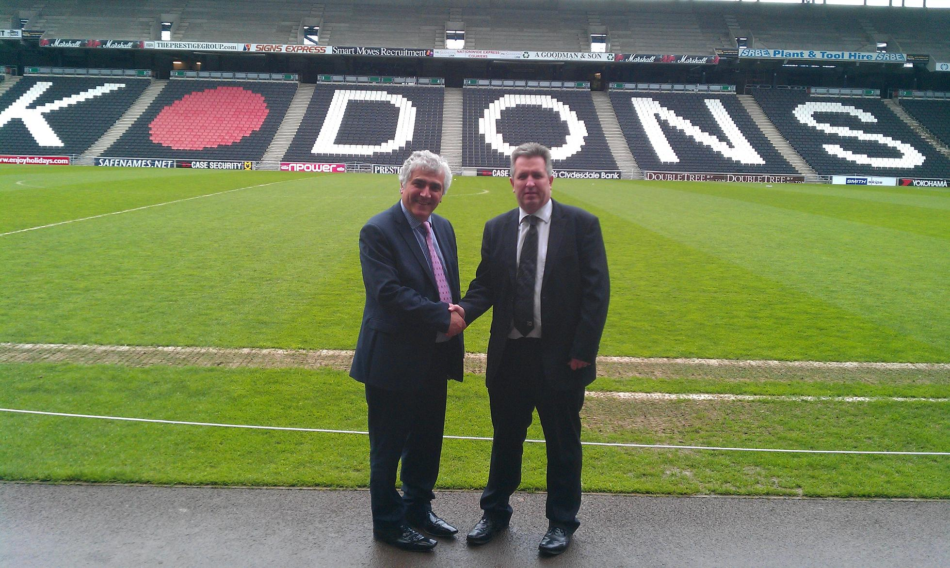 Merton Council's leader, Stephen Alambritis (left) with Milton Keynes Council leader, Andrew Geary, at Stadium mk