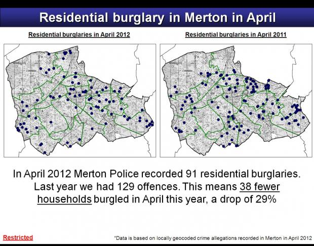 Merton's allegations of burglary: April 2012 and April 2011