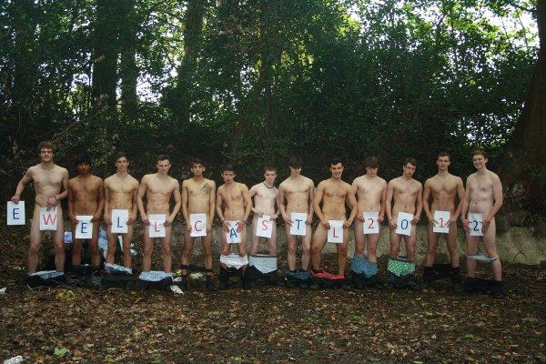 The boys stripped off on their last day at Ewell Castle School