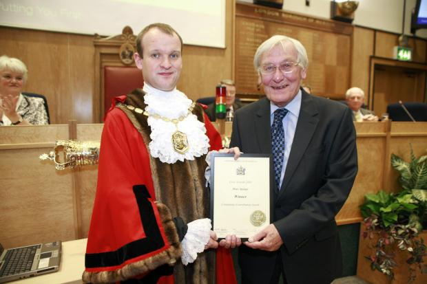 Peter Steiner (right) received a Merton Civic Award in 2009, presented by then mayor Councillor Martin Whelton