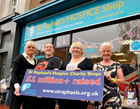 Celebrating at the Carshalton High Street branch: June Warby, Karen Ruddell, Lisa Lindsay, Jan Cunningham