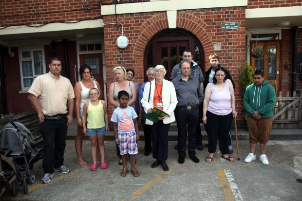 Councillor Mary-Jane Jeanes (centre) with residents of Byfield Court