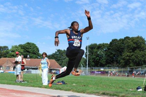 Wimbledon Guardian: Jamal Rhoden-Stevens goes in the triple jump during the open track and field meeting on Saturday   SP68727