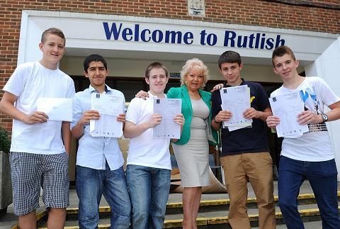 Cabinet member for children's services, Maxi Martin, pictured with pupils at Rutlish School, where 74 per cent of students got five A*-C grades - up 10 per cent from last year