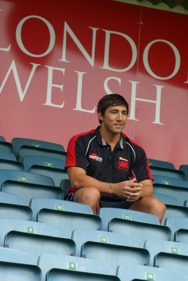 Wimbledon Guardian: Unfinished business: Gavin Henson in the stands at London Welsh. The summer signing will not make his debut this weekend, though, after suffering an injury
