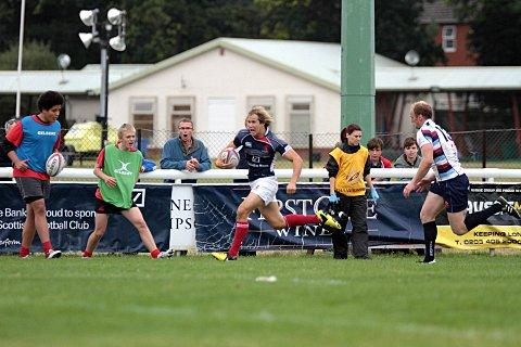 Love story: London Scottish's James Love scores a try, part of his 26-point individual haul, in Saturday's clash against Rotherham Titans