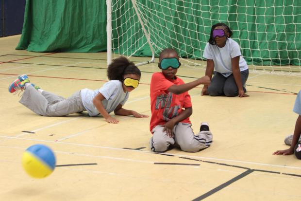 Children from William Morris primary school playing goalball