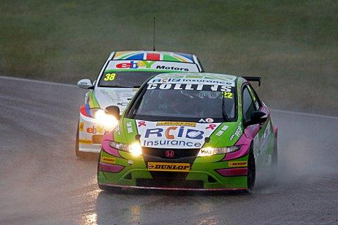 Race ace: Howard Fulller gets in front of seasoned BTCC driver Tom Onslow-Cole at Rockingham