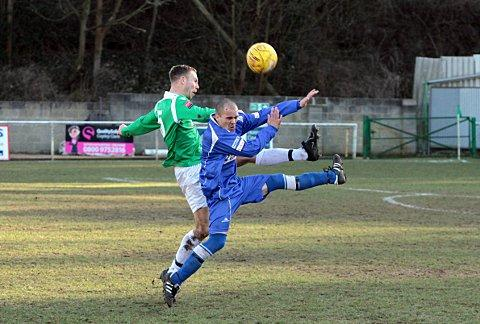 Broomhead off: the Leafe skipper (in green) was sent off in the 0-0 draw against Tunbridge Wells     SP63581
