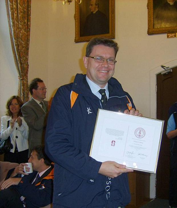 Charles Conway, housemaster at Epsom College, received a special honour from Stanford University in California