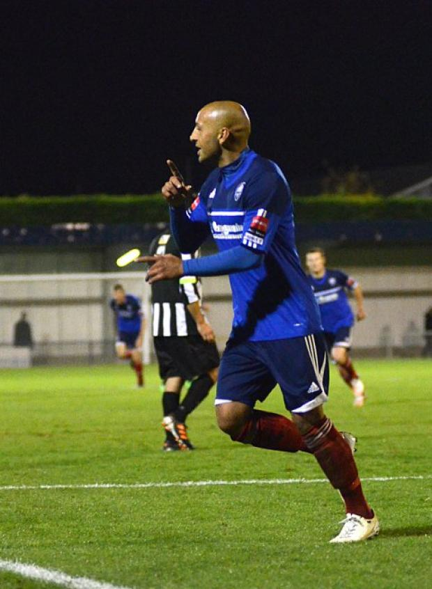 Wimbledon Guardian: Going through: Met Police's Tyron Smith celebrates his late goal that confirmed the Blues their spot in the FA Cup fourth qualifying round