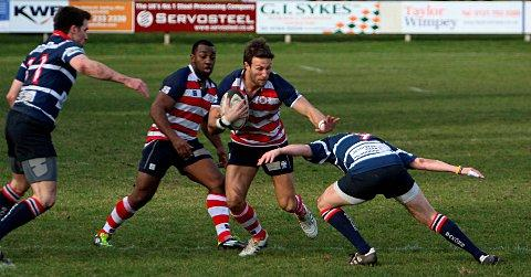 Hands off: Rosslyn Park's Dom Shabbo was on form in the 30-25 win at Macclesfield on Saturday