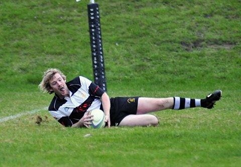 Over we go: Jak Martin was in try-scoring form for Sutton & Epsom at the weekend, but it was not enough to avoid defeat at Old Alleynians