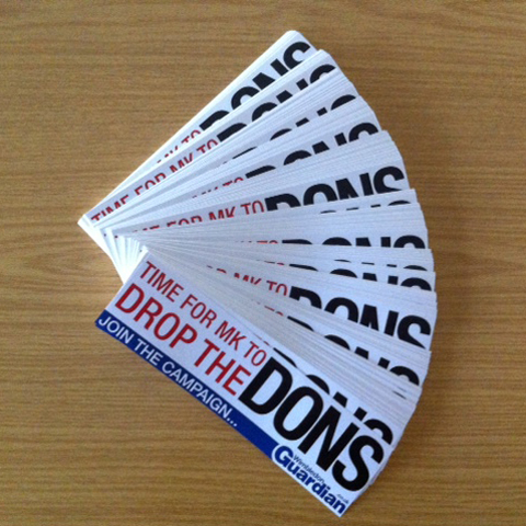 We will be handing out DROP THE DONS stickers at the AFC Wimbledon v York game at Kingsmeadow on Monday
