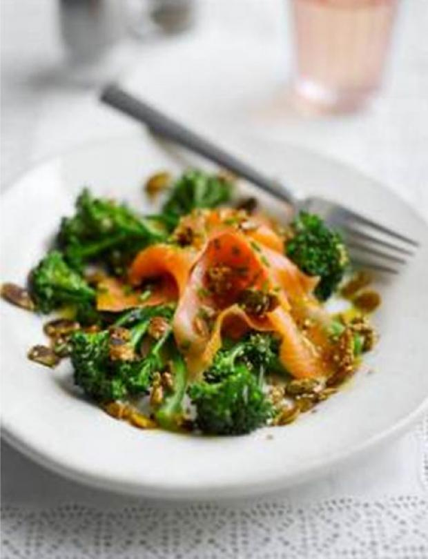 Tenderstem, Scottish Smoked Salmon & Toasted Seed Salad with Lemon Dressing