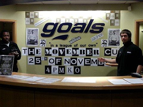Movember Cup five-a-side football tournamet to be held at the Goals Soccer Centre in West Barnes