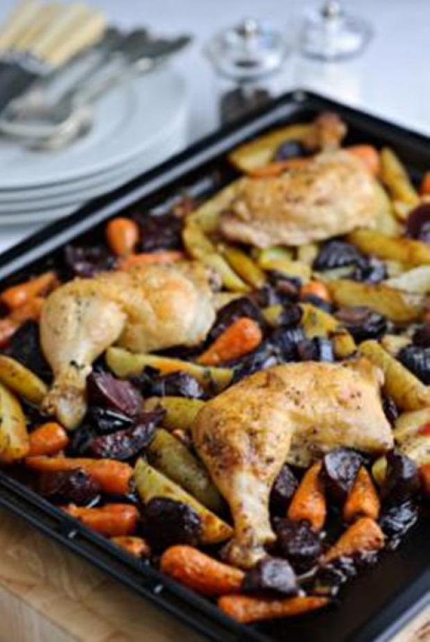 One pan roast lunch of chicken, beetroot, potatoes & carrots with olive oil, garlic & white wine
