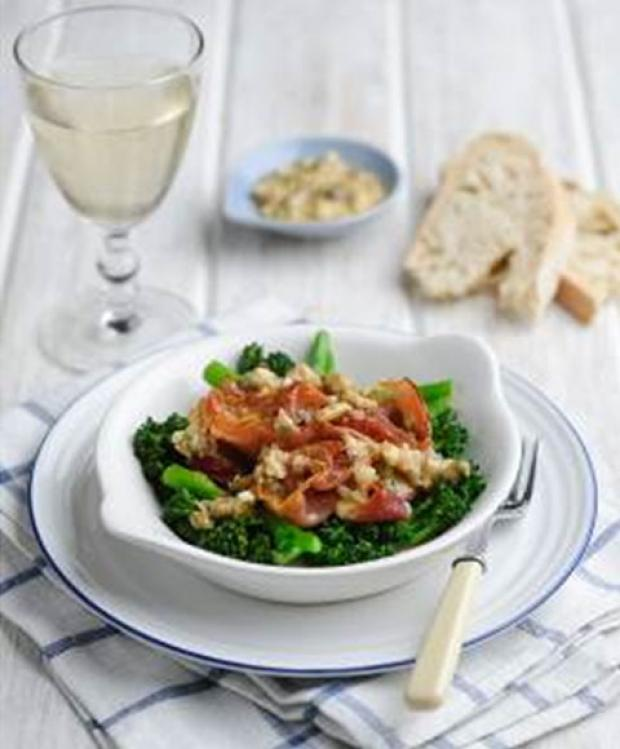 Genevieve Taylor's Tenderstem and crispy proscuitto with a creamy shallot and caper dressing