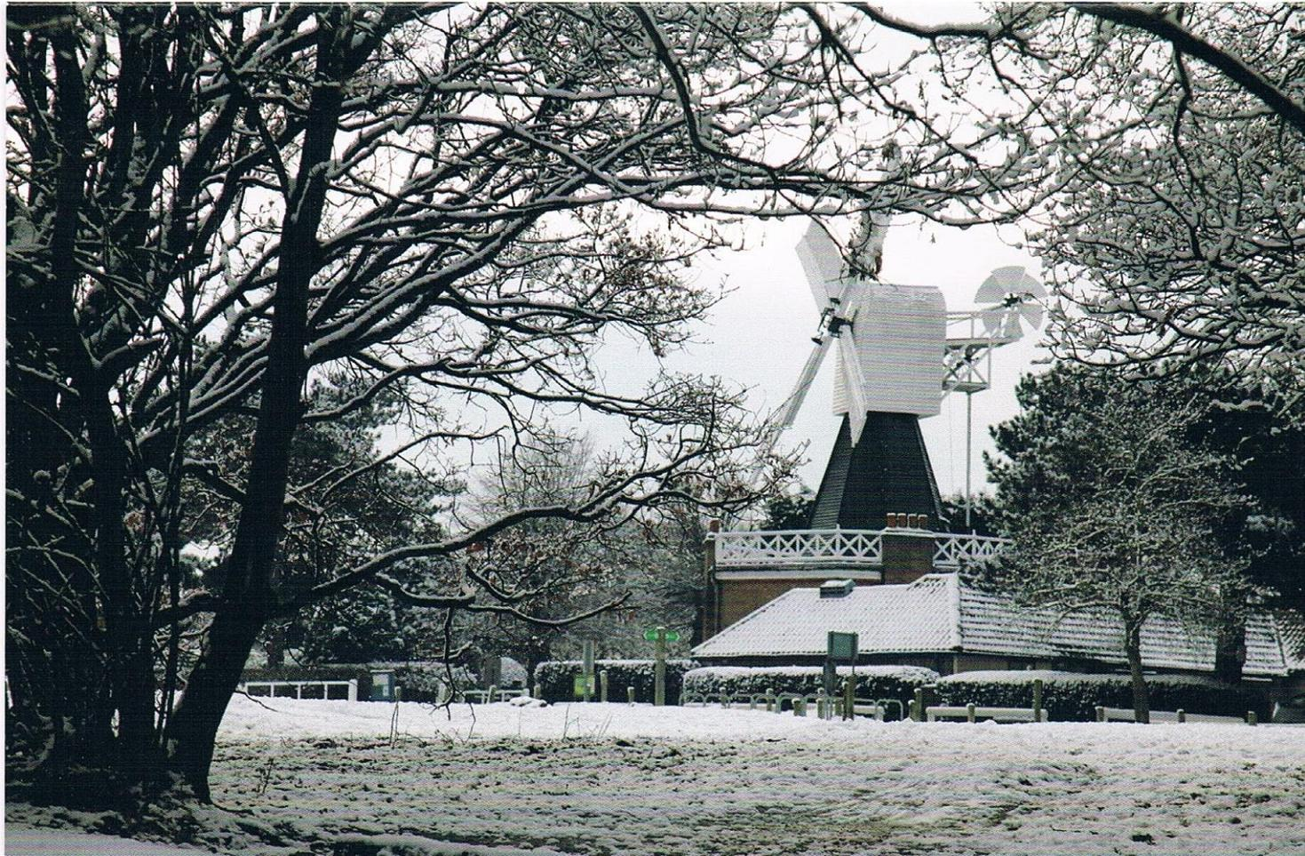 This year's Wimbledon Society Christmas card shows Wimbledon Windmill in the snow last February