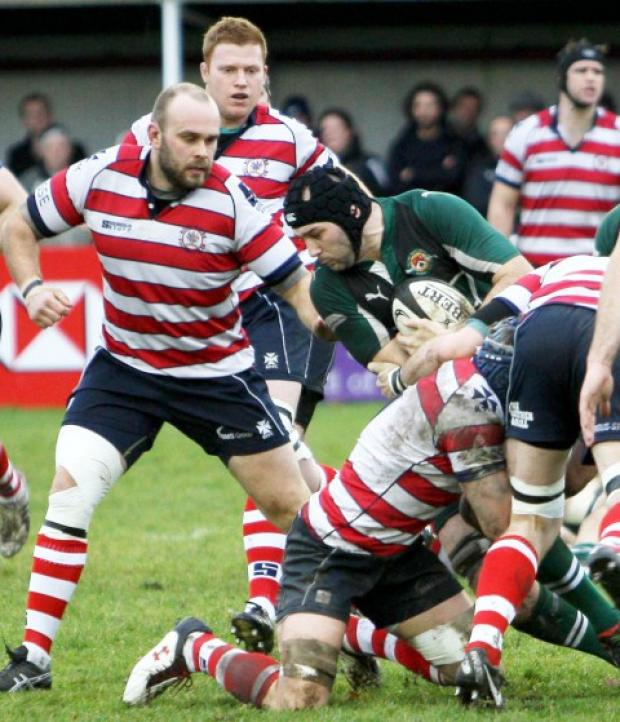 Wimbledon Guardian: Titanic clash: Park in action in the 16-16 draw with National League One leaders Ealing  Picture: David Whittam