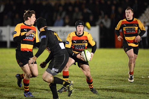 Playmaker: Louis Grimoldby, with ball in hand, in action for Richmond against Esher