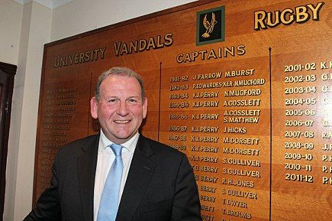 Returning hero: 2015 Rugby World Cup chairman Andrew Cosslett at Weybridge Vandals, where he was captain in the mid-80s - last week