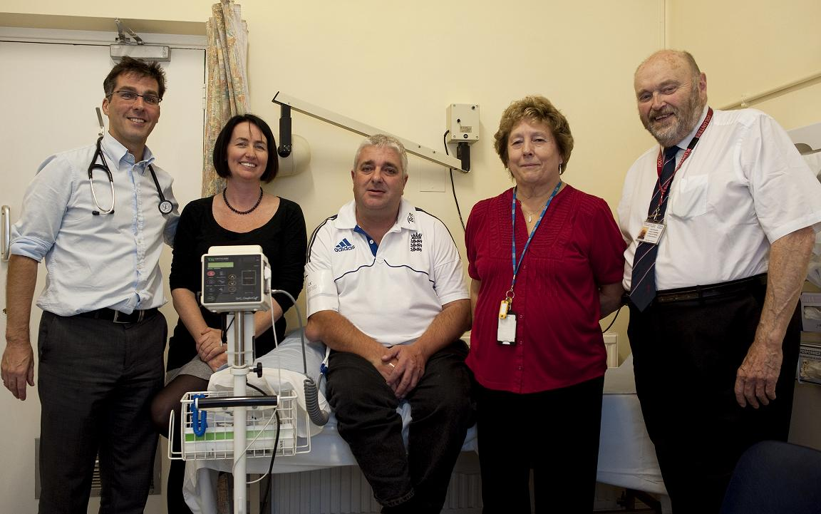 Deputy Medical Director Dr James Marsh, consultant nephrologist Dr Pauline Swift, patient Mark Bradford, and volunteers Pat and Tony.