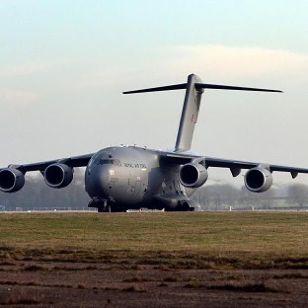The first of two giant RAF C-17 transport aircraft has left for Mali