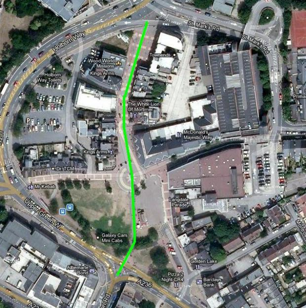 Merton Council has decided to build a bus lane through Fair Green, Mitcham town centre's pedestrian area