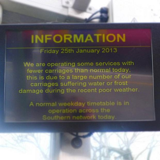 Information screen at Ashtead station on Friday.